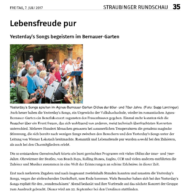 Yesterdays Benefizkonzert Presse